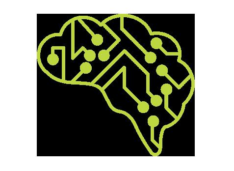 Icono de un cerebro con terminaciones tecnológicas para representar el análisis de la información
