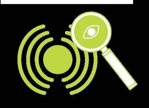 Icono de monitorización, una lupa con un ojo para visualizar los datos que se emiten por la red.