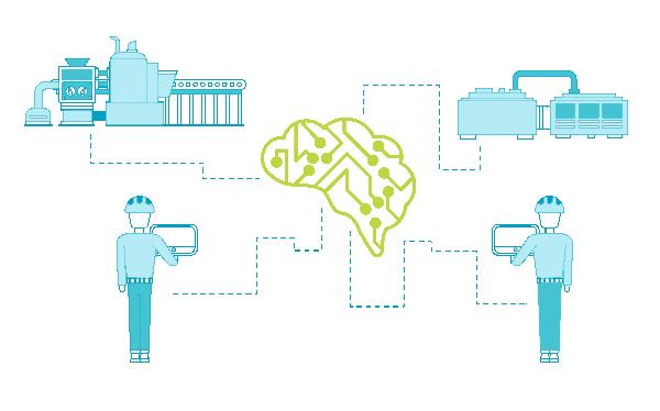 Imagen con el sistema de distribución enter el cerebro de Sentinel y los dispositivos de la planta