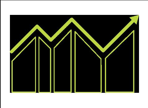 Icono de una gráfica de mejora constante